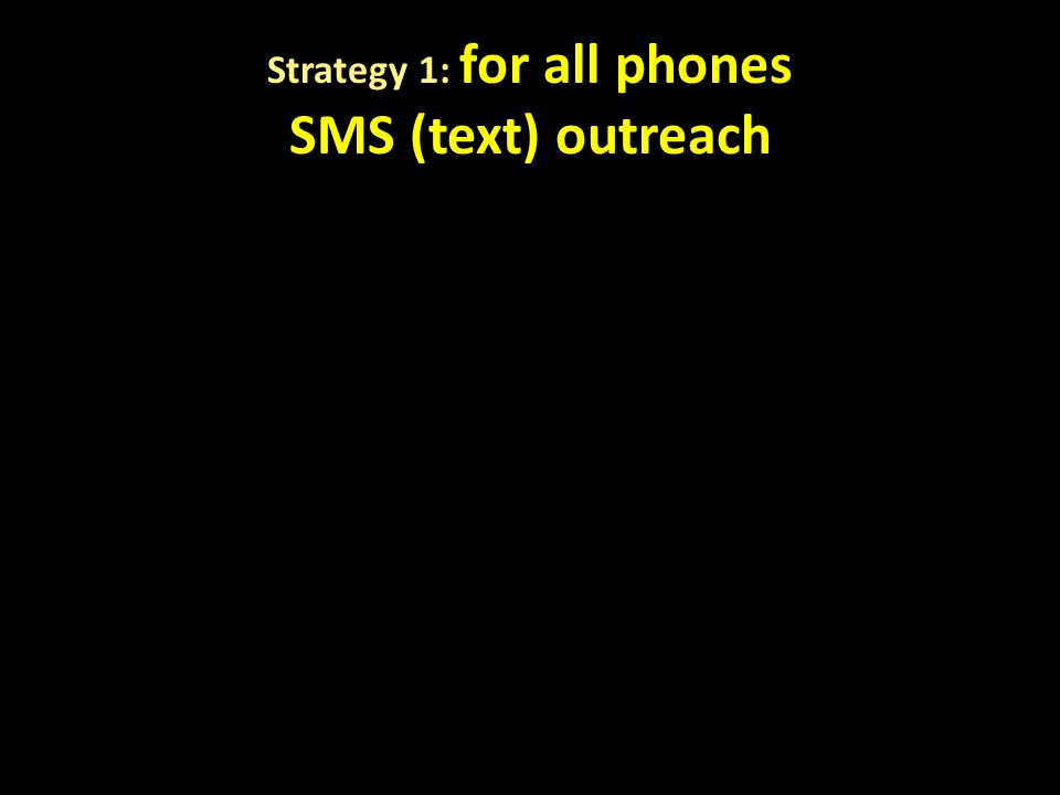 Strategy 1: for all phones SMS (text) outreach