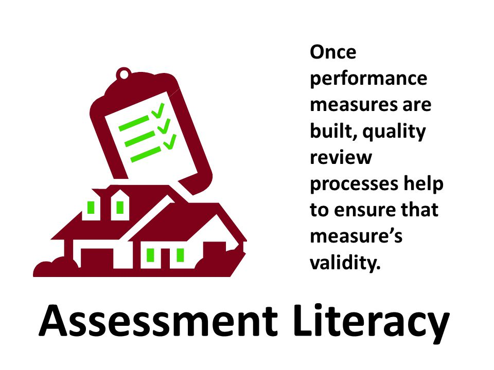 Once performance measures are built, quality review processes help to ensure that measure's validity. Assessment Literacy