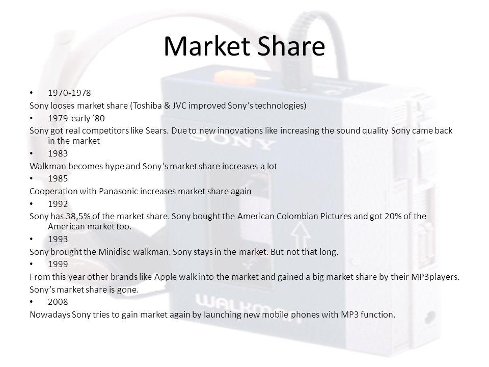 Market Share 1970-1978 Sony looses market share (Toshiba & JVC improved Sony's technologies) 1979-early '80 Sony got real competitors like Sears.