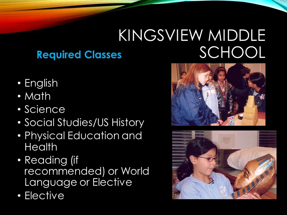 KINGSVIEW MIDDLE SCHOOL Required Classes English Math Science Social Studies/US History Physical Education and Health Reading (if recommended) or Worl