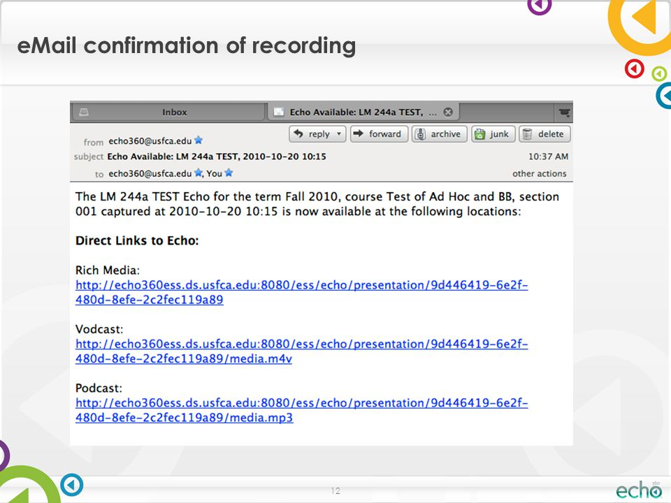 12 eMail confirmation of recording