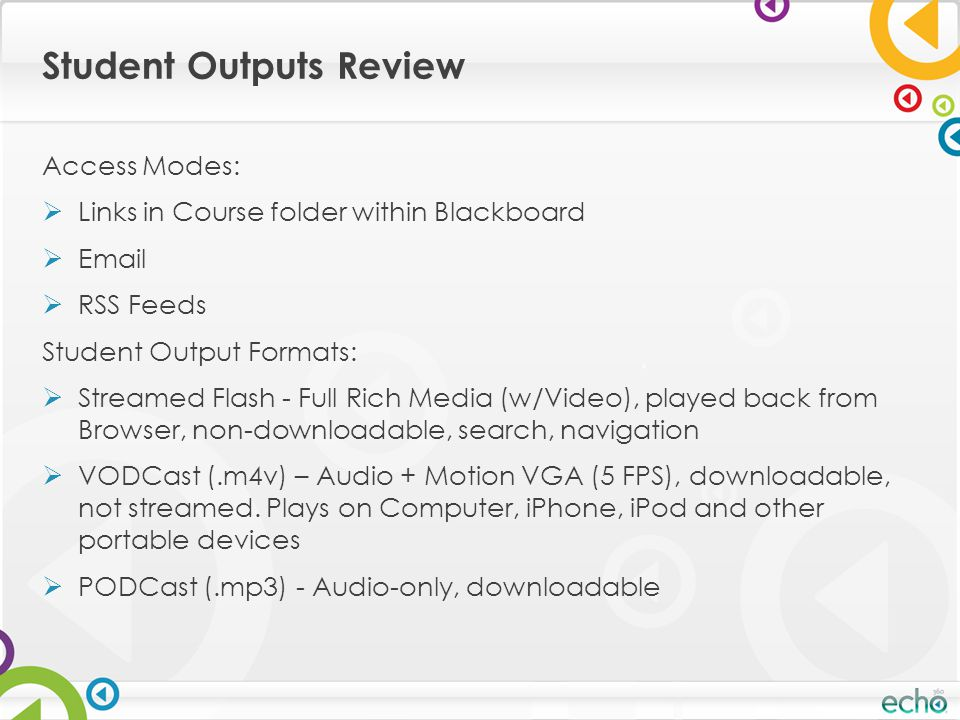 Student Outputs Review Access Modes:  Links in Course folder within Blackboard  Email  RSS Feeds Student Output Formats:  Streamed Flash - Full Rich Media (w/Video), played back from Browser, non-downloadable, search, navigation  VODCast (.m4v) – Audio + Motion VGA (5 FPS), downloadable, not streamed.