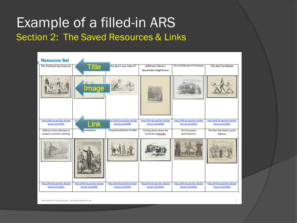 Example of a filled-in ARS Section 2: The Saved Resources & Links Title Image Link