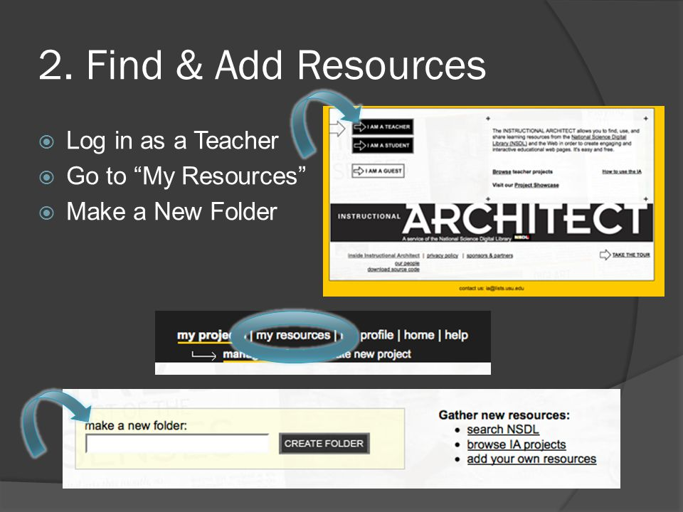 2. Find & Add Resources  Log in as a Teacher  Go to My Resources  Make a New Folder