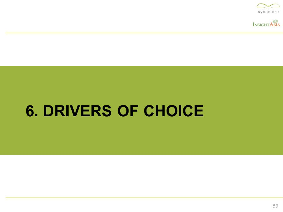 53 6. DRIVERS OF CHOICE