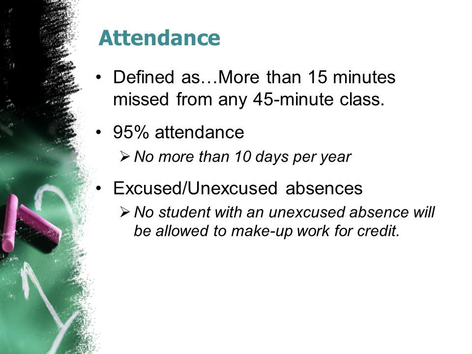 Attendance Defined as…More than 15 minutes missed from any 45-minute class.