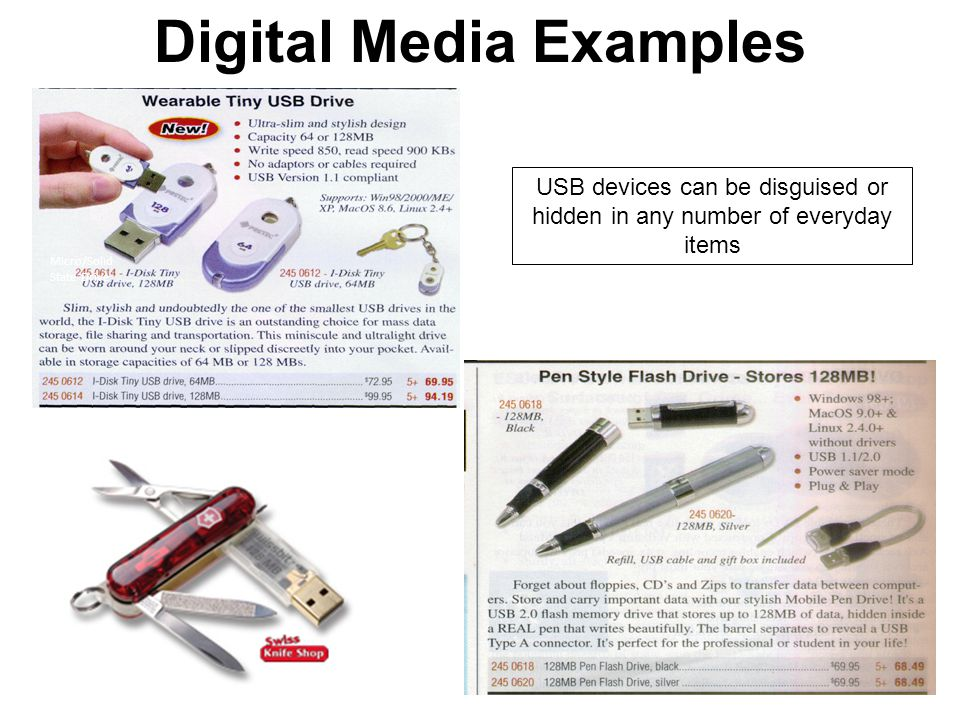 USB devices can be disguised or hidden in any number of everyday items Micro/Solid State Drive