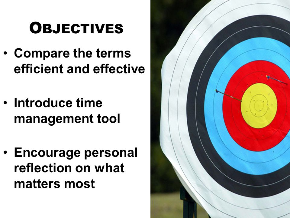O BJECTIVES Compare the terms efficient and effective Introduce time management tool Encourage personal reflection on what matters most