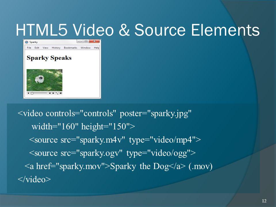 HTML5 Video & Source Elements <video controls=