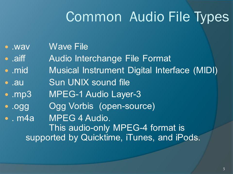 Common Audio File Types.wav Wave File.aiff Audio Interchange File Format.mid Musical Instrument Digital Interface (MIDI).au Sun UNIX sound file.mp3 MP