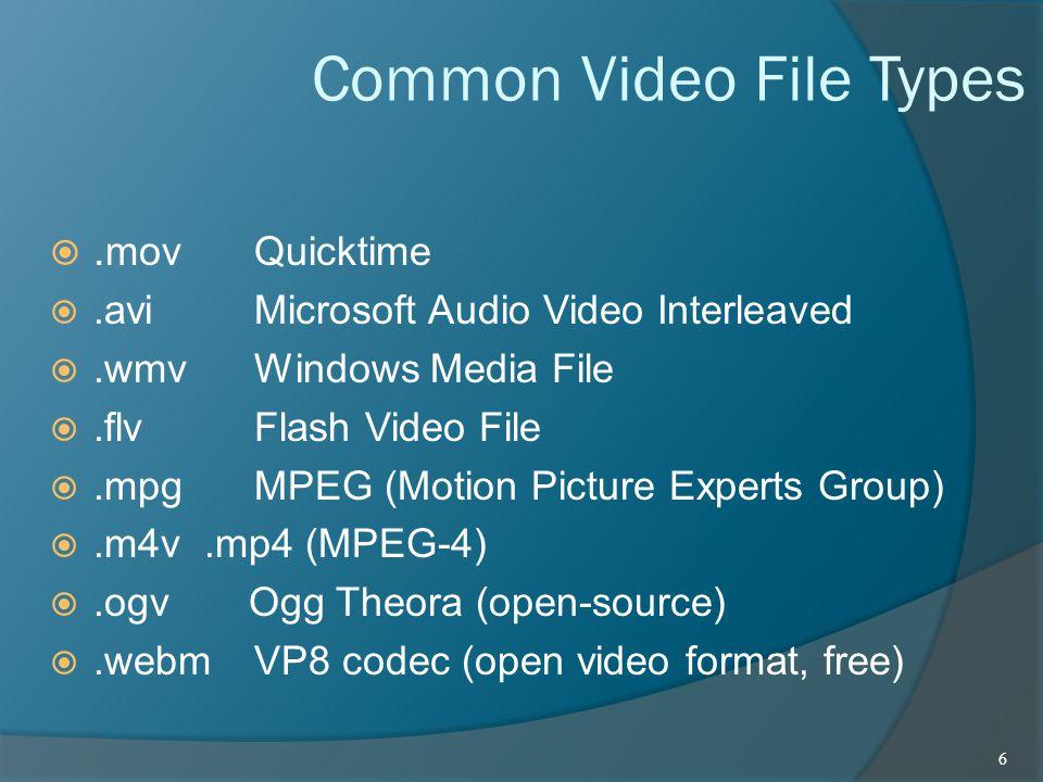 Common Video File Types . movQuicktime .avi Microsoft Audio Video Interleaved .wmvWindows Media File .flv Flash Video File .mpgMPEG (Motion Pictu