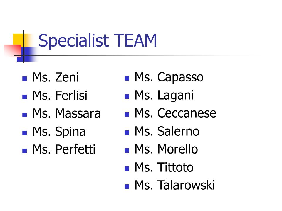 Specialist TEAM Ms. Zeni Ms. Ferlisi Ms. Massara Ms.