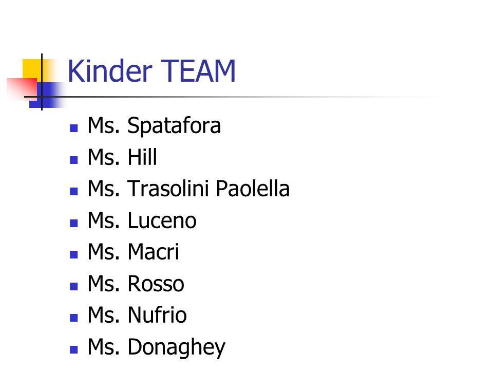 Kinder TEAM Ms. Spatafora Ms. Hill Ms. Trasolini Paolella Ms.
