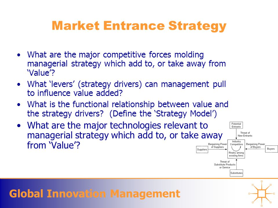 Global Innovation Management Market Entrance Strategy What are the major competitive forces molding managerial strategy which add to, or take away from 'Value'.