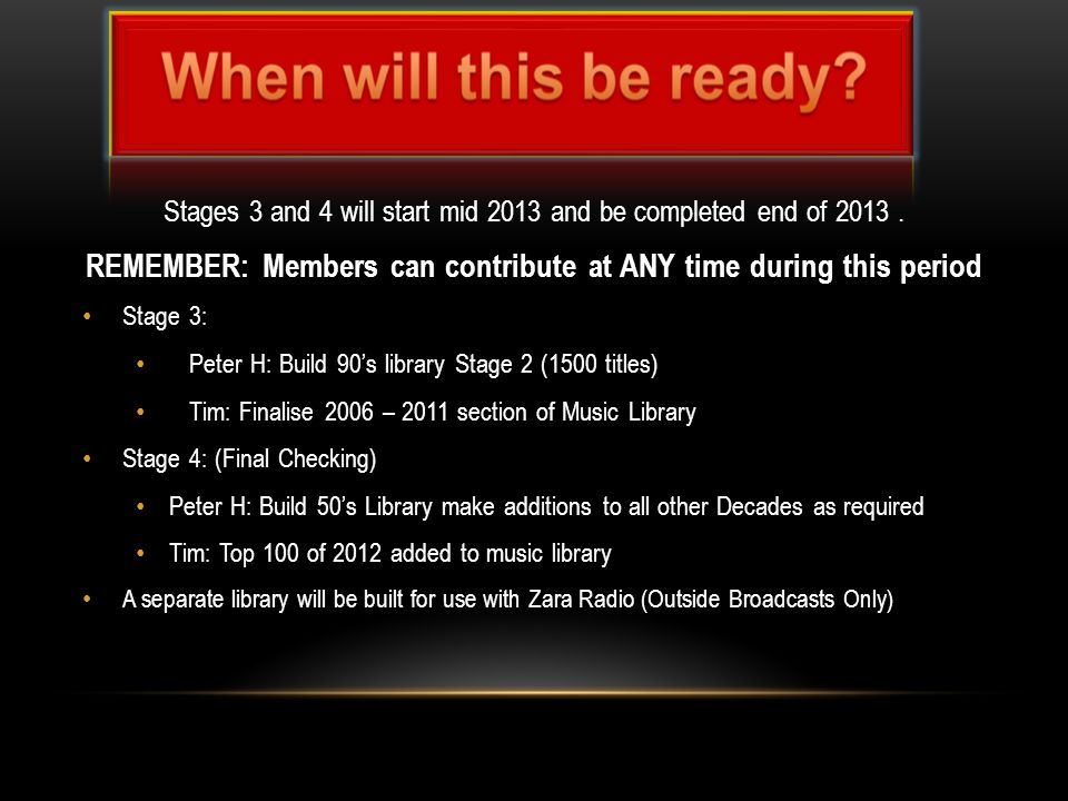 Stages 3 and 4 will start mid 2013 and be completed end of 2013.