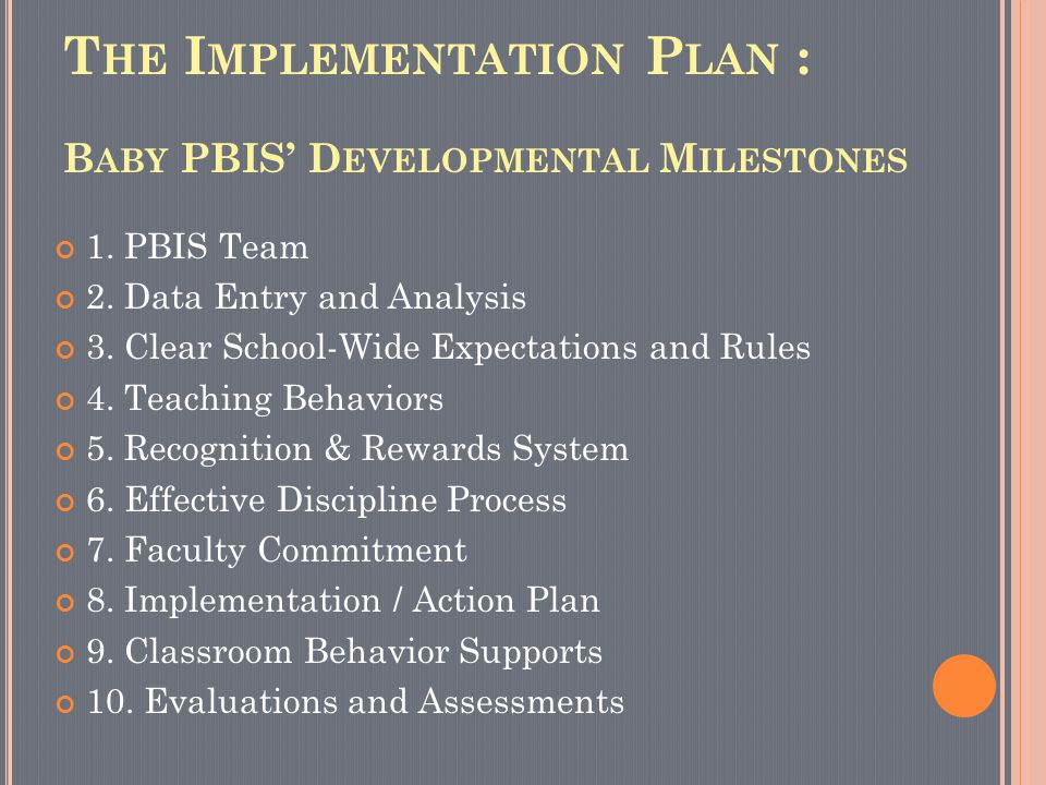 T HE I MPLEMENTATION P LAN : B ABY PBIS' D EVELOPMENTAL M ILESTONES 1. PBIS Team 2. Data Entry and Analysis 3. Clear School-Wide Expectations and Rule