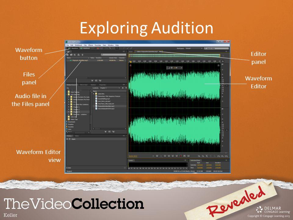Waveform Editor view Waveform button Files panel Audio file in the Files panel Editor panel Waveform Editor Exploring Audition