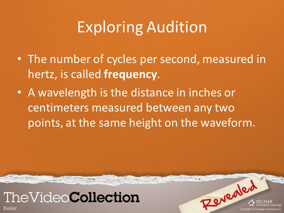 The number of cycles per second, measured in hertz, is called frequency. A wavelength is the distance in inches or centimeters measured between any tw