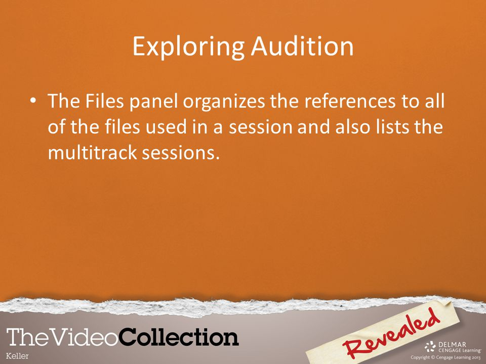 Exploring Audition The Files panel organizes the references to all of the files used in a session and also lists the multitrack sessions.