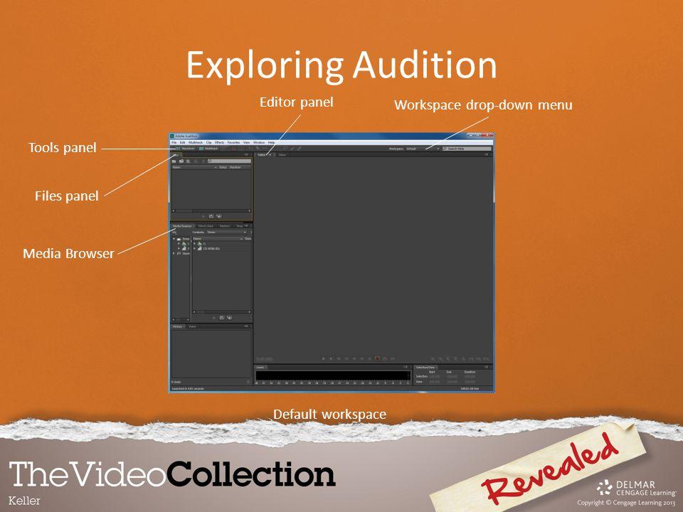 Default workspace Workspace drop-down menu Editor panel Tools panel Files panel Media Browser Exploring Audition