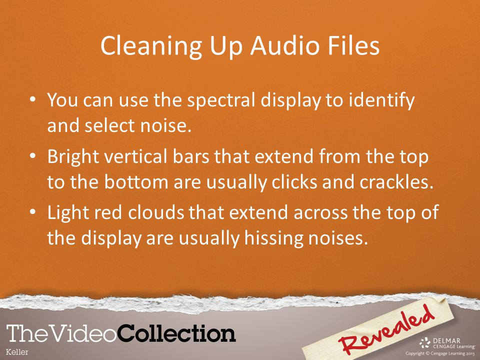 You can use the spectral display to identify and select noise. Bright vertical bars that extend from the top to the bottom are usually clicks and crac