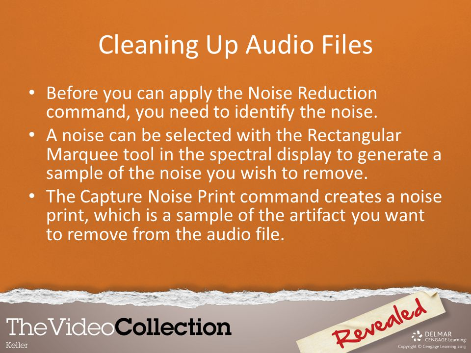 Before you can apply the Noise Reduction command, you need to identify the noise. A noise can be selected with the Rectangular Marquee tool in the spe