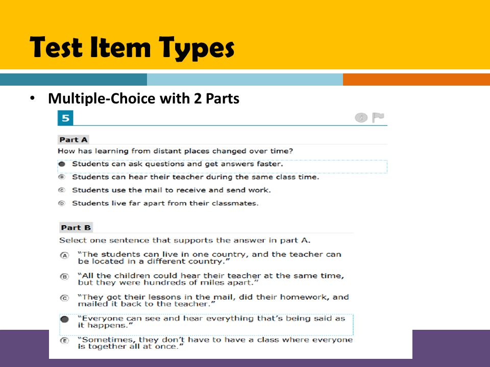 Test Item Types Multiple-Choice with 2 Parts
