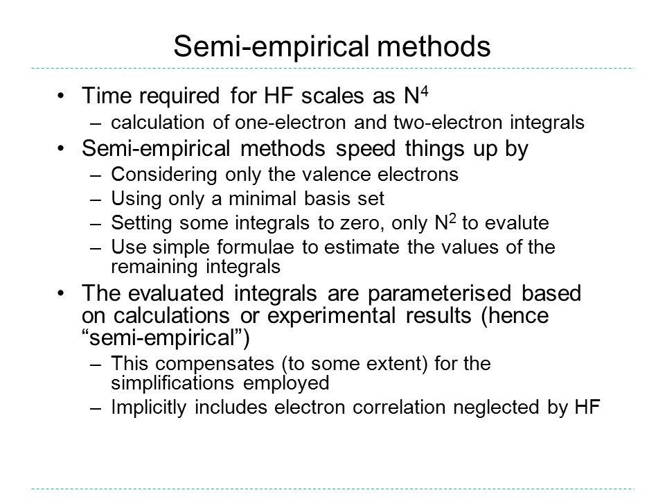 Semi-empirical methods CNDO (Complete Neglect of Differential Overlap) –CNDO (Pople, 1965) INDO (Intermediate Neglect of Differential Overlap) –INDO (Pople, Beveridge, Dobosh, 1967) –INDO/S, ZINDO/S (Ridley, Zerner, 1973) –MINDO/3 (Bingham, Dewar, Lo, 1973) –SINDO1 (Nanda, Jug, 1980) NDDO (Neglect of Diatomic Differential Overlap) –MNDO (Dewar, Thiel, 1977) –AM1 (Dewar,..., Stewart, 1985) –PM3 (Stewart, 1989) –SAM1 (Dewar, Jie, Yu, 1993) –MNDO/d (Thiel, Voityuk, 1996) –AM1/d (Voityuk, Rosch, 2000) –RM1 (Rocha,..., Stewart, 2006) –PM6 (Stewart, 2007)