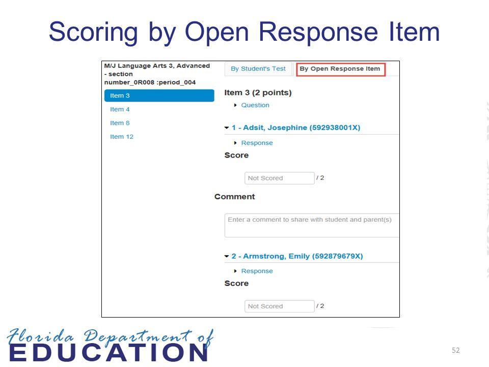 Scoring by Open Response Item 52