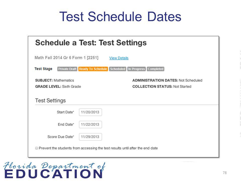 Test Schedule Dates Math Fall 2014 Gr 6 Form 1 [2251] 78