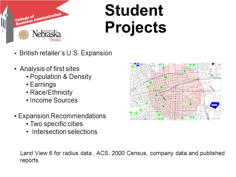 Student Projects British retailer's U.S. Expansion Analysis of first sites Population & Density Earnings Race/Ethnicity Income Sources Expansion Recom