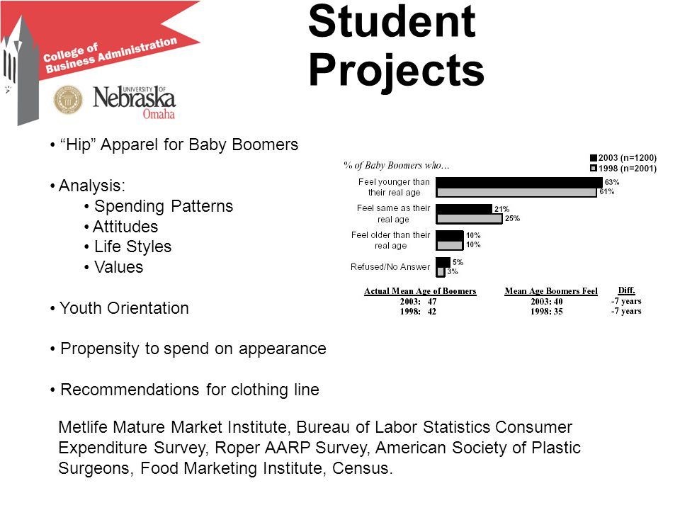 Student Projects Hip Apparel for Baby Boomers Analysis: Spending Patterns Attitudes Life Styles Values Youth Orientation Propensity to spend on appearance Recommendations for clothing line Metlife Mature Market Institute, Bureau of Labor Statistics Consumer Expenditure Survey, Roper AARP Survey, American Society of Plastic Surgeons, Food Marketing Institute, Census.