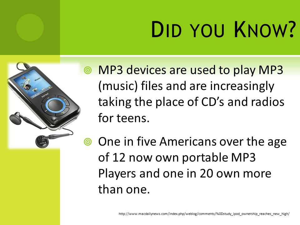 D ID YOU K NOW ?  MP3 devices are used to play MP3 (music) files and are increasingly taking the place of CD's and radios for teens.  One in five Am