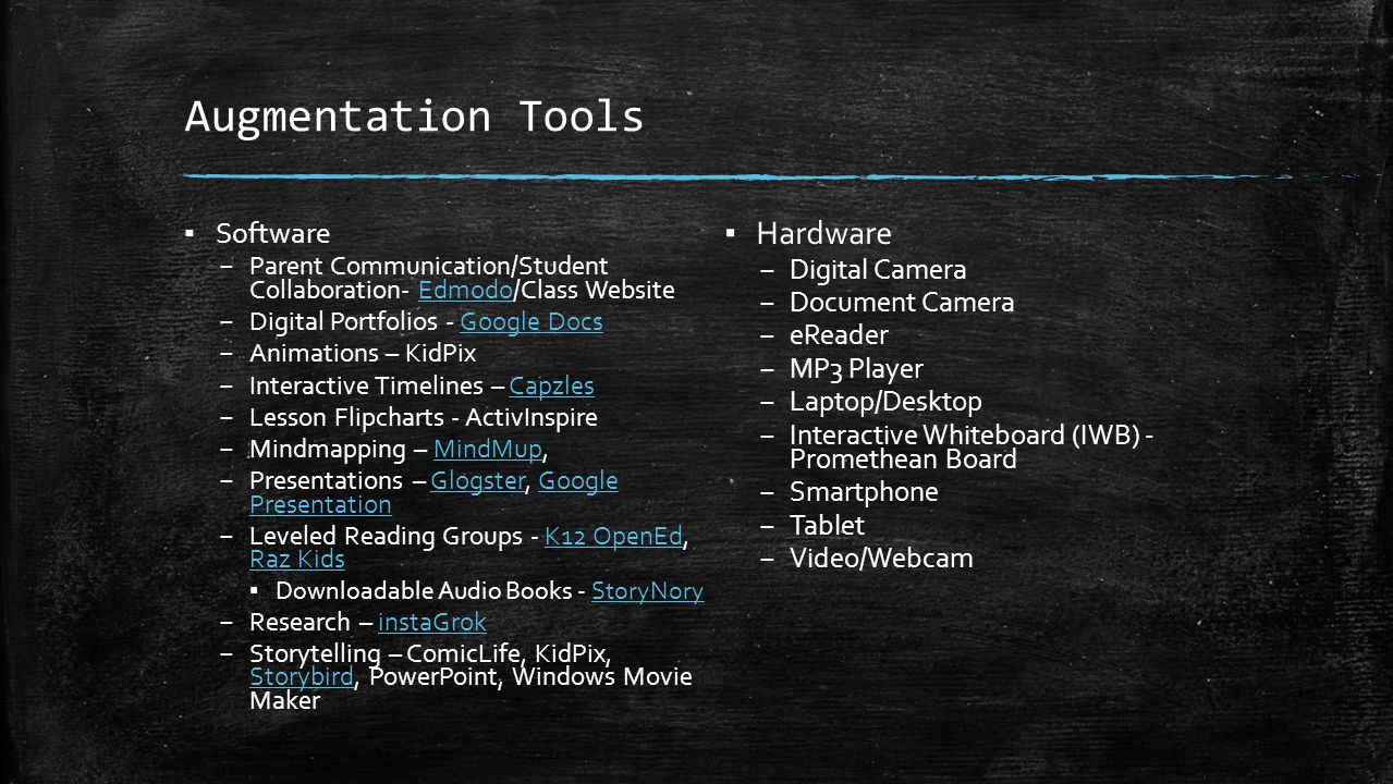 Augmentation Tools ▪ Software – Parent Communication/Student Collaboration- Edmodo/Class WebsiteEdmodo – Digital Portfolios - Google DocsGoogle Docs –
