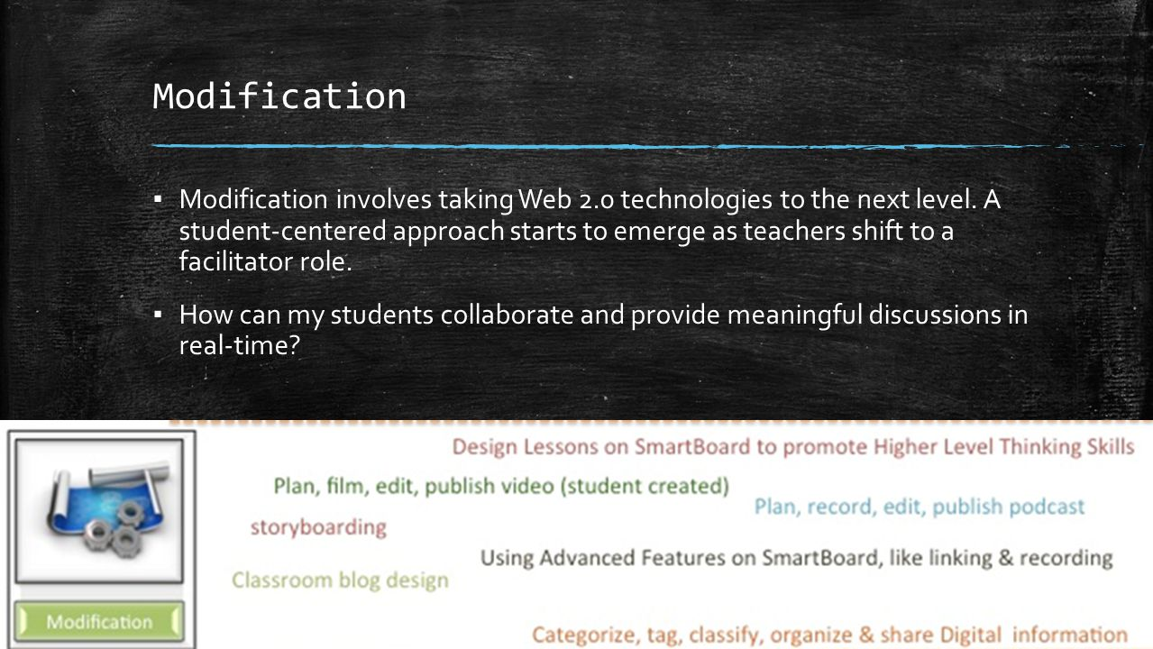 Modification ▪ Modification involves taking Web 2.0 technologies to the next level. A student-centered approach starts to emerge as teachers shift to