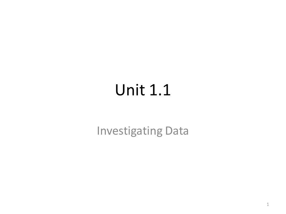 Unit 1.1 Investigating Data 1