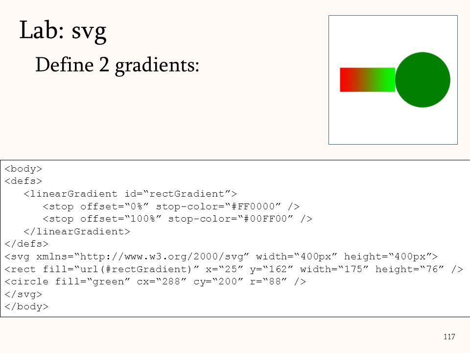 Define 2 gradients: Lab: svg 117