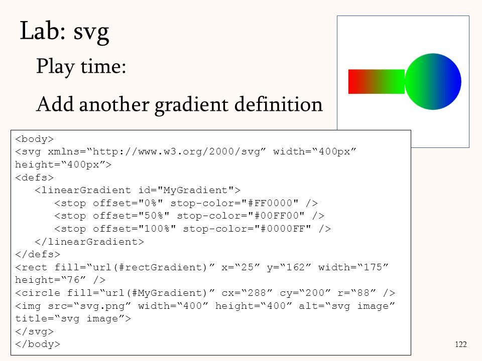 """Play time: Add another gradient definition Lab: svg 122 <svg xmlns=""""http://www.w3.org/2000/svg"""" width=""""400px"""" height=""""400px""""> <rect fill=""""url(#rectGra"""