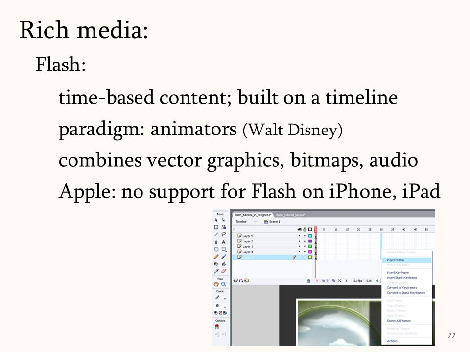 Flash: time-based content; built on a timeline paradigm: animators (Walt Disney) combines vector graphics, bitmaps, audio Apple: no support for Flash
