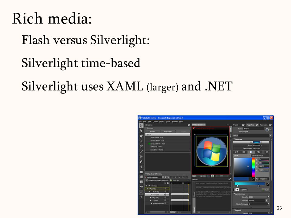 Rich media: 23 Flash versus Silverlight: Silverlight time-based Silverlight uses XAML (larger) and.NET