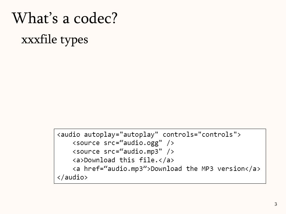 What's a codec? 3 xxxfile types Download this file. Download the MP3 version