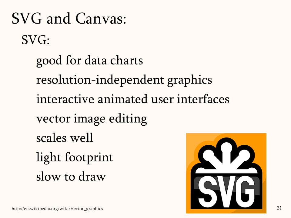 SVG and Canvas: 31 SVG: good for data charts resolution-independent graphics interactive animated user interfaces vector image editing scales well lig