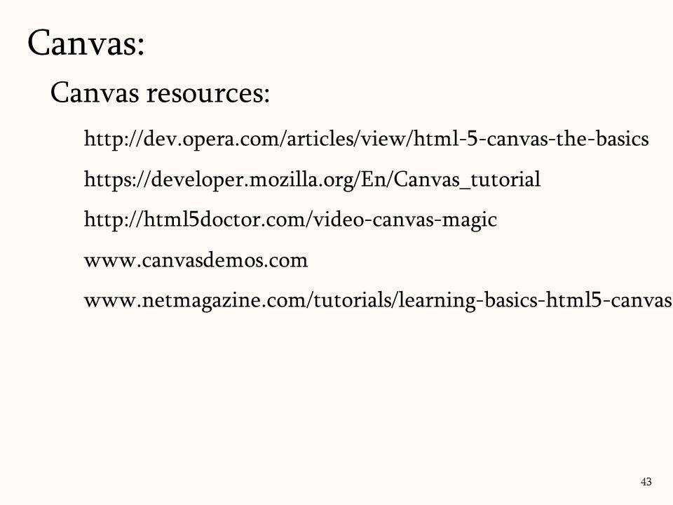 Canvas: 43 Canvas resources: http://dev.opera.com/articles/view/html-5-canvas-the-basics https://developer.mozilla.org/En/Canvas_tutorial http://html5