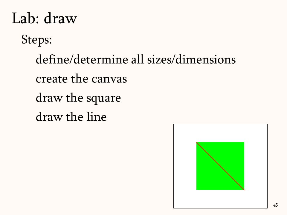 Steps: define/determine all sizes/dimensions create the canvas draw the square draw the line Lab: draw 45
