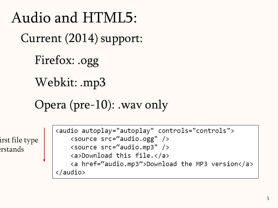 Audio and HTML5: 5 Current (2014) support: Firefox:.ogg Webkit:.mp3 Opera (pre-10):.wav only Download this file. Download the MP3 version Plays first