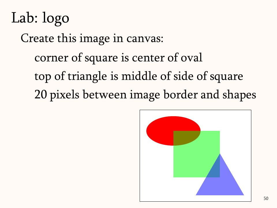 Create this image in canvas: corner of square is center of oval top of triangle is middle of side of square 20 pixels between image border and shapes