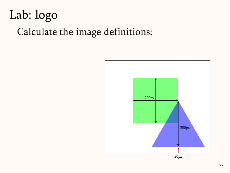 Calculate the image definitions: Lab: logo 53 20px 200px