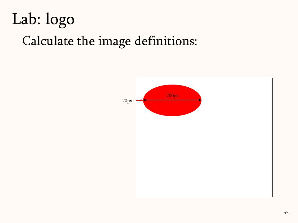 Calculate the image definitions: Lab: logo 55 200px 20px