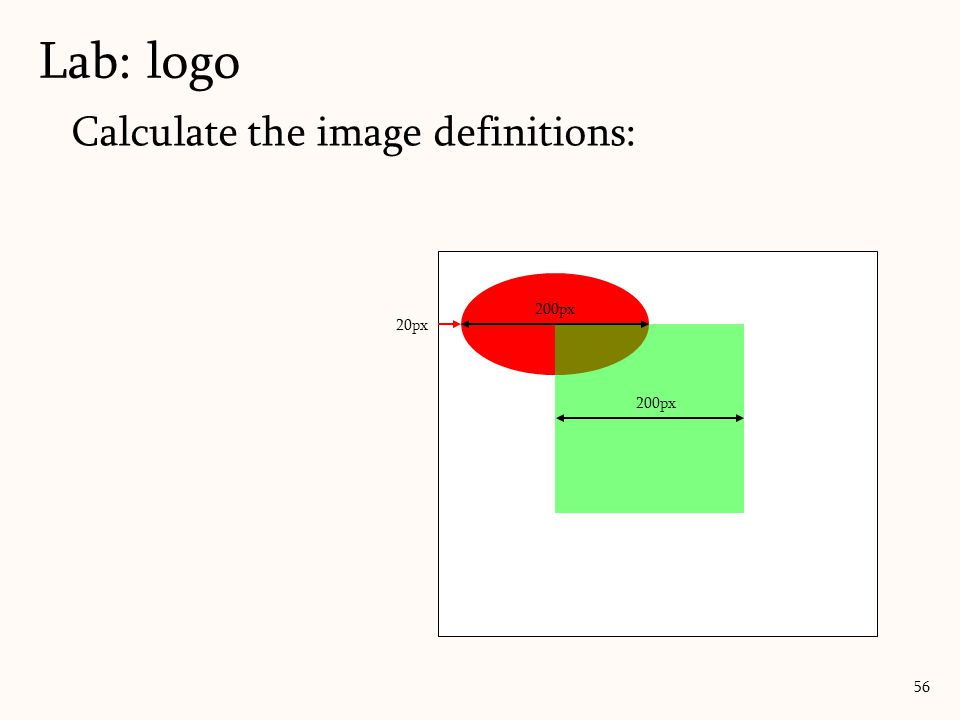Calculate the image definitions: Lab: logo 56 200px 20px 200px