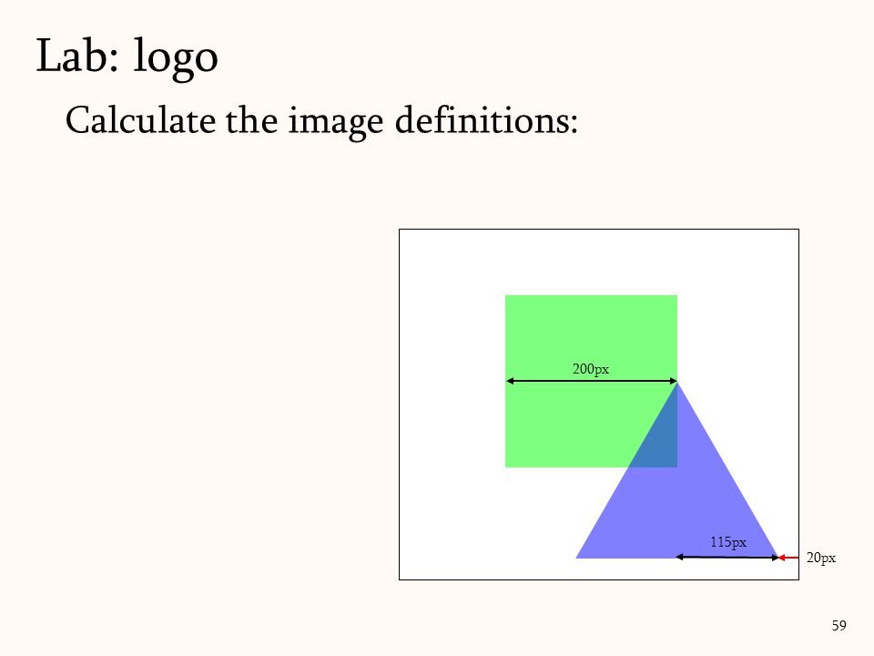 Calculate the image definitions: Lab: logo 59 20px 200px 115px
